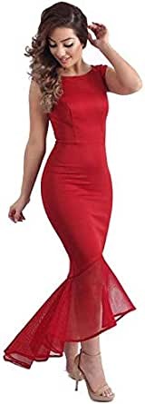 Body Pack Hip Organza Irregular Skirt Sleeveless Stitching Tight Fishtail Dress,Red