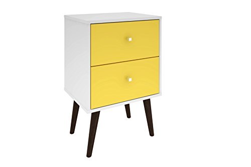 - Manhattan Comfort Liberty Collection Mid Century Modern Nightstand With Two Drawers, Splayed Legs, White/Yellow