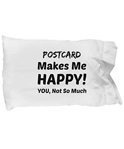 eShopGear Postcard Pillow Case - Postcard Makes Me Happy - You Not So Much ()