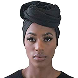 Rayna Josephine Stretch Head Wrap-Solid Color Jersey Knit Headwrap Turban Hair Scarf Tie (Black Night)