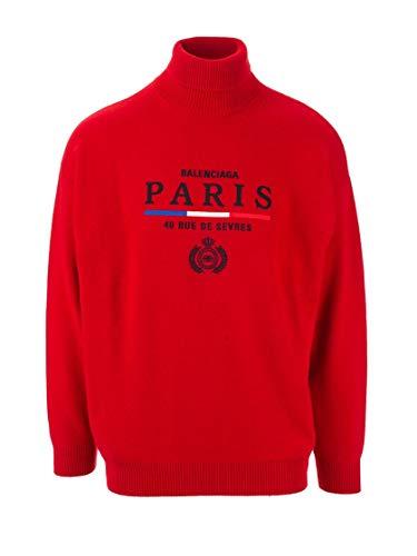 Balenciaga Luxury Fashion Man 594737T40986400 Red Cashmere Sweater | Fall Winter 19