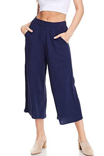 Alexander + David Women's Casual Linen Crops Culottes, Elastic Waistband, Wide Leg Capri Pant (Navy, Large)