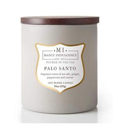 Manly Indulgence Palo Santo Scented Single Wood Wick 15oz Soy Blend Candle