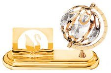 - 24K Gold Plated Business Card Holder With A Spinning Globe and Clear Crystals
