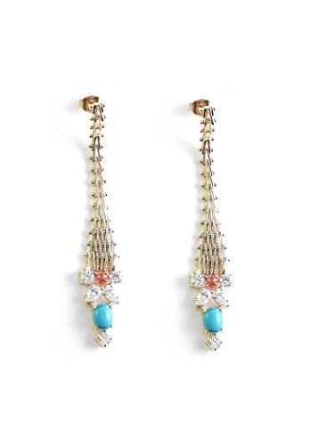 Iosselliani Boucles d'Oreilles Laiton Ovale Autre Bleu Femme