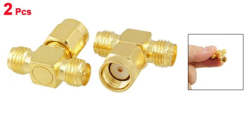 2 Pcs RP SMA Male to Two RP SMA Female Triple T RF Adapter Connector 3 way Splitter