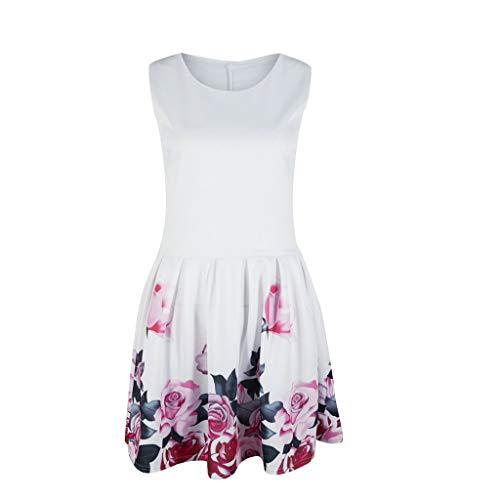 (SMALLE_Clothing Mini Swing Dress for Women,SMALLE◕‿◕ Women Cocktail Mini Dress Sleeveless Rose Print T Shirt Tank Dress)
