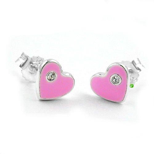 Boucles d'oreilles pour enfant en forme de cœur rose laqué ® avec cristaux sWAROVSKI elements