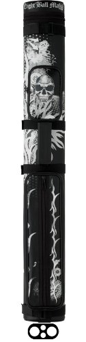 Action Pool Cue Case (Action 2 Butts and 2 Shafts Vinyl Pool Cue Case with Eight Ball Mafia Designs, Skull and Flames)