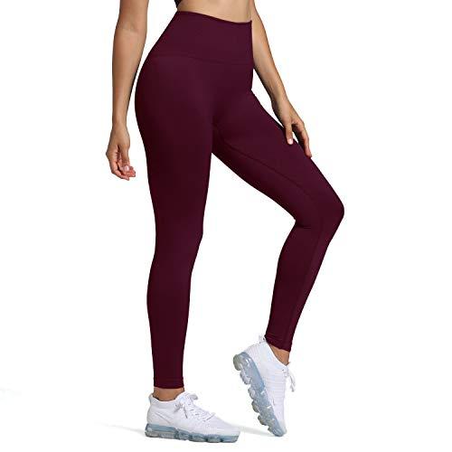 Women's Leggings High Waist Gym Yoga Workout Hyperflex Seamless Leggings Tights (Dark Ruby, Medium)