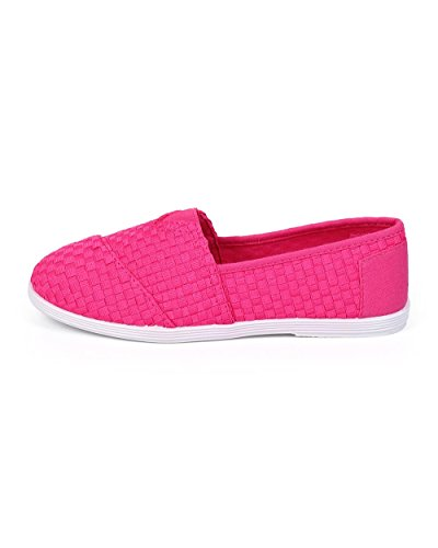 Forever Df01 Mujeres Tejidas Punta Redonda Classic Slip On Loafer Flat - Fucsia