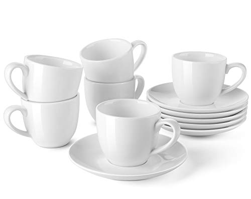 LIFVER Porcelain Espresso Cups with Saucers, 3.5 OunceDemitasse Cups, Perfect for Espresso, Cappuccino, Latte, Cafe Mocha, Set of 6, - Ounce 3.5 Porcelain