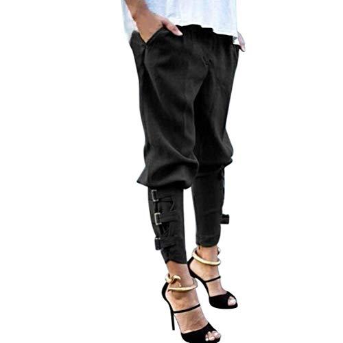 Pluderhose Primaverile Eleganti Moda Donna Pantaloni Vita Alta Vita Elastica Tasche Anteriori Cinghia Metallica Monocromo Baggy Pants Lunga Damigella Trousers Pantaloni Di Stoffa Modern Stile Nero