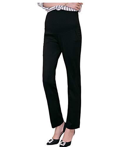 Maternity Pants Career Wear Maternity Slacks Pregnancy Trousers (XX-Large, Black) by Funfreeyer