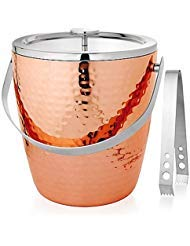 4 Qt. Capacity Hammered Copper Ice Bucket with Tongs