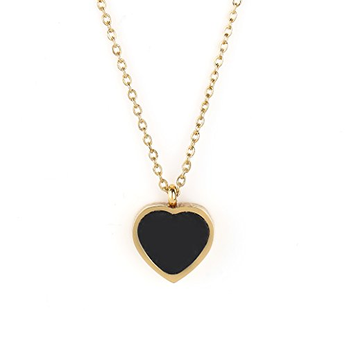 United Elegance Reversible Gold Tone Designer Necklace with Jet Black Faux Onyx Heart Charm Pendant