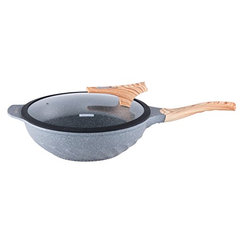 Chinese Wok Nonstick Marble Coating Die-casting Aluminum Induction Woks And Stir Fry Pans with Glass Lid Dishwasher Safe Scratch Resistant PFOA Free 12.6 Inch - Grey by COOKLOVER (Image #5)