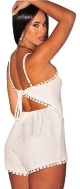 NEW Mesdames Blanc bretelles Grenouillère pour body/Club Wear Summer vêtements Taille 12