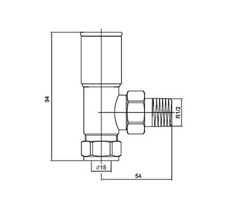 WarmeHaus Nuovo 15mm Design Valvole Angolate per Calorifero Termoarredo Coppia