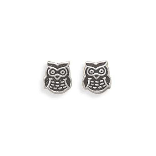 MMA Sterling Silver Oxidized Owl Earrings