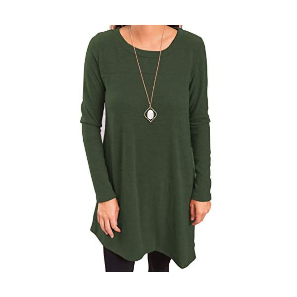Long Sleeve Scoop Neck Button Side Sweater Tunic Dress
