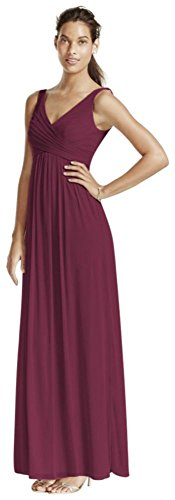 David's Bridal Long Mesh Bridesmaid Dress with Cowl Back Detail Style F15933, Wine, 8]()
