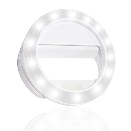 LS Photography LED Portable Mini Selfie Ring Light White for Smartphone, Camera Light, Dimmable, USB Charge Cable, Brightness Control, iPhone, iPad, Samsung Galaxy, LGG571 by LS Photography