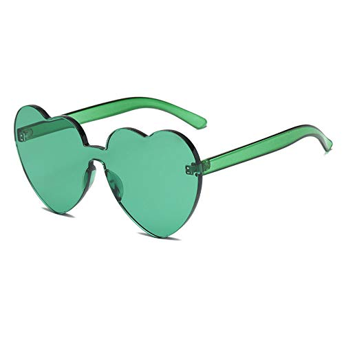 Heart Shaped Rimless Sunglasses One Pieces Transparent Candy Color Frameless Glasses Love Eyewear(DG)