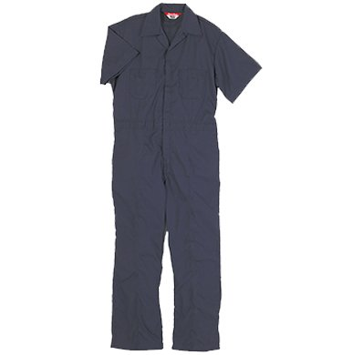 Walls Work Men's Short Sleeve Poplin Non-Insulated Mechanic Coverall, Navy, 44 Regular