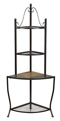 - 4D Concepts Corner Baker's Rack with Slate Top, Metal/Slate