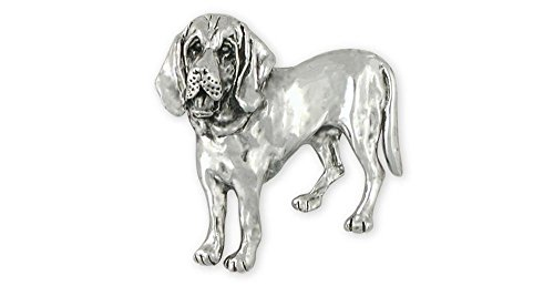 Esquivel and Fees Bloodhound Jewelry Sterling Silver Bloodhound Brooch Pin Handmade Dog Jewelry BHD1-BPN