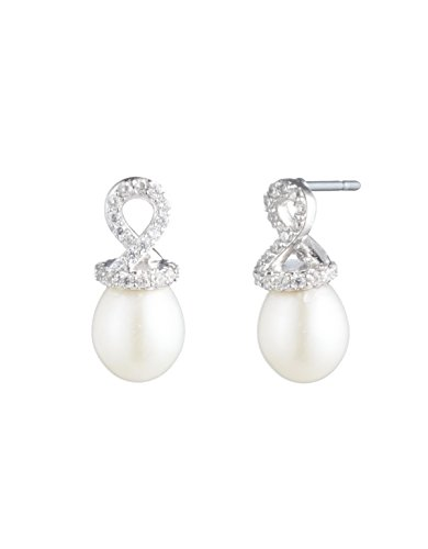 Carolee Women's Fresh Water Pearl with Helix Cap Stud Earring, Silver/White