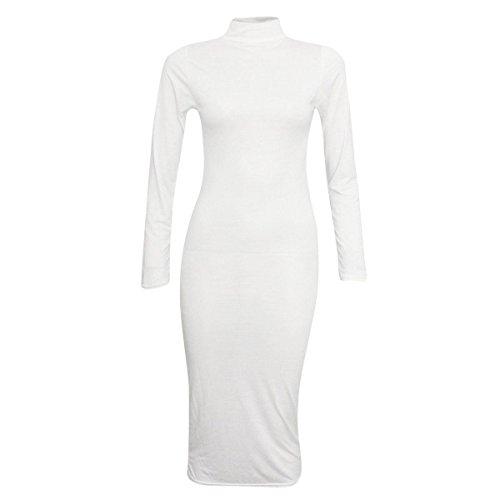 Les Nouvelles Femmes Dames Taille De Robe À Manches Longues Stretch Col Polo Bodycon Midi Uk8-26 Blanc