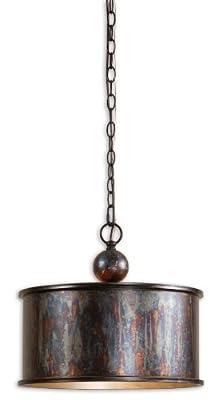 "16"" Oxidized Copper Metal Pendant Chandelier - 1 Light"