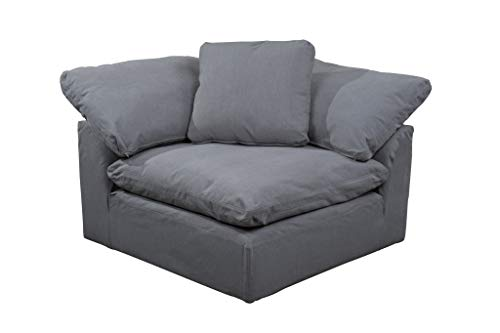 Sunset Trading SU-145851-391094 Cloud Puff Slipcovered Arm Modular Corner, Performance Gray Sofa Sectional Chair, Grey