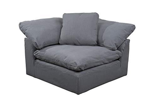 Sunset Trading SU-145851-391094 Cloud PuffSlipcovered Arm Modular Corner, Performance Gray Sofa Sectional Chair, Grey