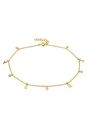 14k gold bezel diamond anklet by Zoe Lev Jewelry