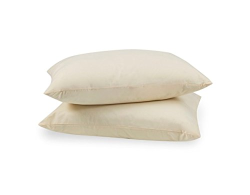 Beige Protector Case - Zippered Pillow Protectors 100% Cotton Cover, Soft & Quiet, Protects Pillows from Dirt, Dust Mites & Allergens – Vanilla Color - Standard Size (20x26 - 2 Pack)