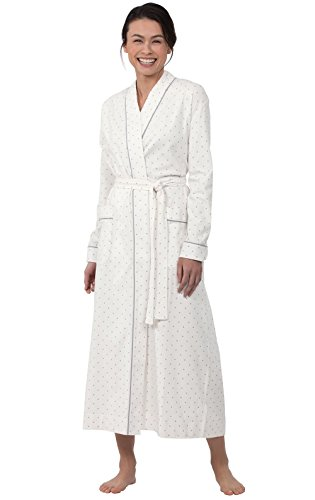 (PajamaGram Classic Women's Robes Long - Polka Dot Ladies Robe, Cream, X-Large 16)