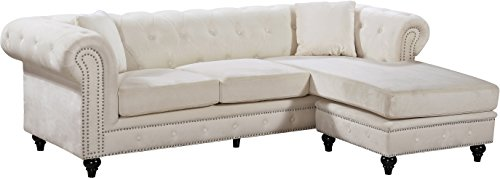 Meridian Furniture 667Cream-Sectional Sabrina Reversible 2 Piece Button Tufted Velvet Sectional with Scroll Arms, Nailhead Trim, and Custom Wood Legs, Cream (Sectional Chesterfield Sofa)