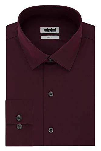 Kenneth Cole Unlisted Men's Dress Shirt Slim Fit Solid ,  Slim Burgundy,  17
