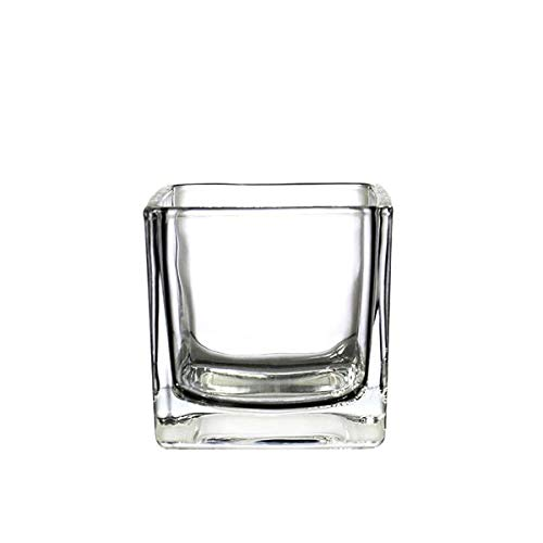 CYS EXCEL Glass Cube Vase, Cubic Flower Vase, Squared Candle Holder, Centerpiece Cubed Vase, Pack of 6]()