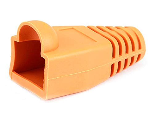 Monoprice [50pcs] RJ-45 Color Coded Strain Relief Boots - Orange (Rj 45 Orange Strain Relief)