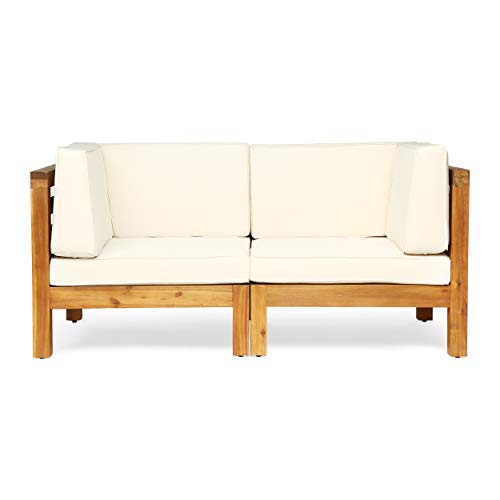 Great Deal Furniture Dawson Outdoor Sectional Loveseat Set – 2-Seater – Acacia Wood – Outdoor Cushions – Teak and Beige