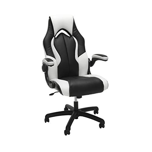 OFM High-Back Racing Style Bonded Leather Gaming Chair, in White (ESS-3086-WHT), White, White