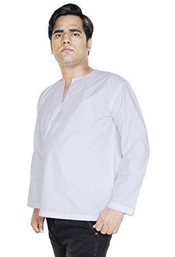 Mens t-shirt tunique indienne - manches longues pur coton kurta de yoga plaine