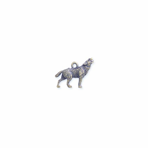 (Shipwreck Beads Pewter Coyote Wolf Charm, Antique Brass, 20 by 24mm, 2-Piece)
