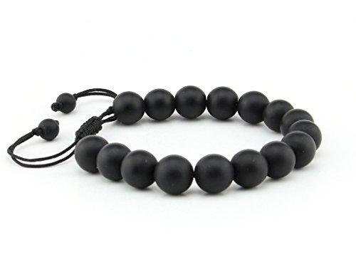 Natural Black Matte Onyx 10mm Lucky Gemstone Bead Adjustable Pull & Tied Bracelet Fits All Men Women