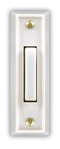 Heath Zenith SL-715-1-02 Wired Door Chime Push Button, White with White Lighted Center Bar