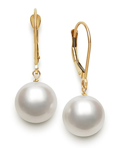 14K Yellow Gold Cultured Freshwater Pearl Dangle Earrings for Women